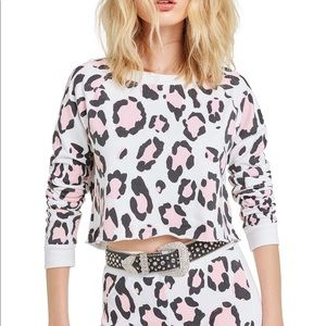 Wildfox Blush Leopard Beach House Crop Sweatshirt